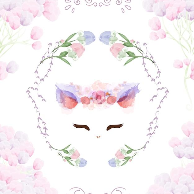 Naadloos patroon uitstekend konijntje in bloemen. Premium Vector