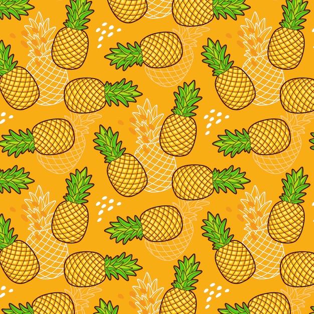 Naadloos patroon van ananas Gratis Vector