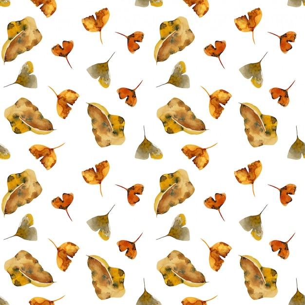 Naadloos patroon van bladeren van de waterverf de droge herfst Premium Vector