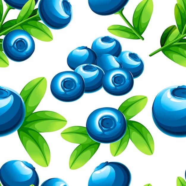 Naadloos patroon van bosbessen. illustratie van bosbessen met groene bladeren. illustratie voor decoratieve poster, embleem natuurlijk product, boerenmarkt. website-pagina en mobiele app. Premium Vector