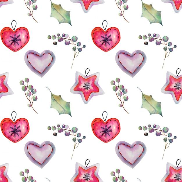 Naadloos patroon van de decoratie van waterverfkerstmis en hulstboom Premium Vector