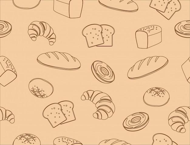 Naadloos patroon van de hand getekende lijn kunst bakkerij Premium Vector