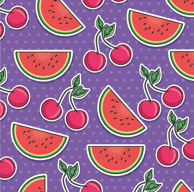 Naadloos patroon van flarden met fruit Premium Vector