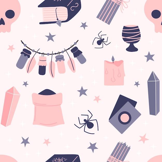 Naadloos patroon van hekserijelementen op een roze achtergrond. attributen voor magie. hand getekend Premium Vector