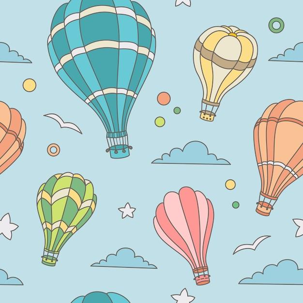 Naadloos patroon van hete luchtballons op de hemel Premium Vector