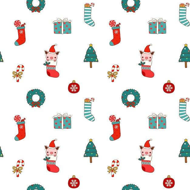 Naadloos patroon van kerstmis en nieuwjaar in vlakke stijl Premium Vector