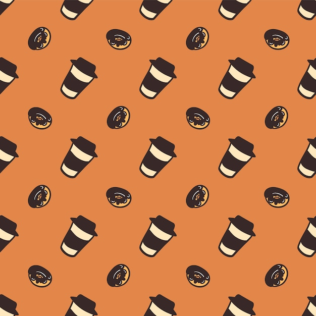 Naadloos patroon van koppen koffie en heerlijke donuts. Premium Vector