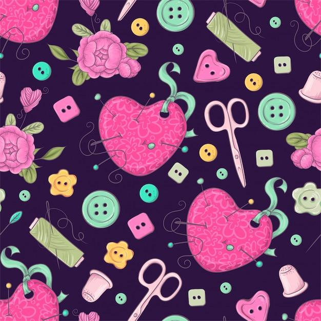 Naadloos patroon van ledenpop naaiende accessoires. Premium Vector