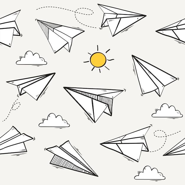 Naadloos patroon van origami-document vliegtuig Premium Vector