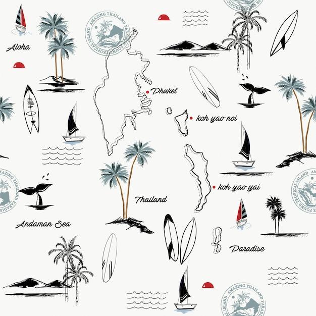 Naadloos patroon van phuket-eiland in het paradijs van thailand Premium Vector