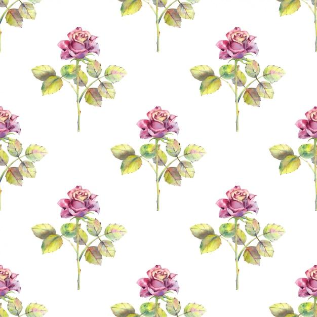 Naadloos patroon van roze bloemen en groene bladeren Premium Vector