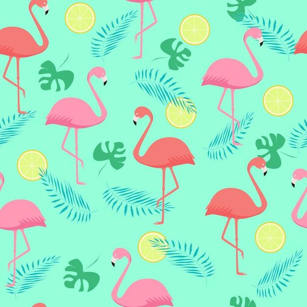 Naadloos patroon van roze en koraalflamingo's en palmbladen Premium Vector