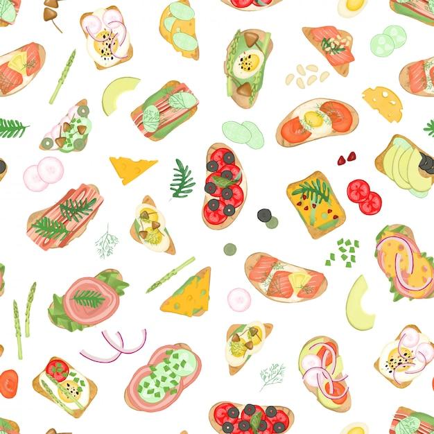 Naadloos patroon van sandwiches met verschillende groente- en vleesingrediënten en voedselelementen Premium Vector