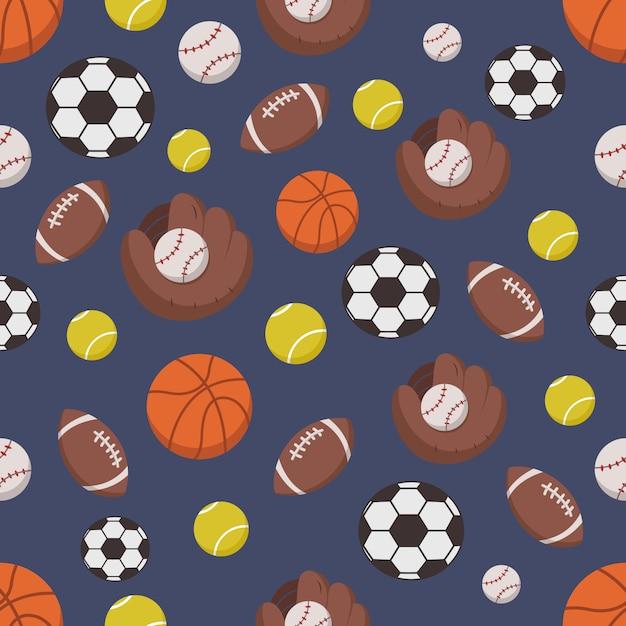 Naadloos patroon van sportvoorwerpen Premium Vector