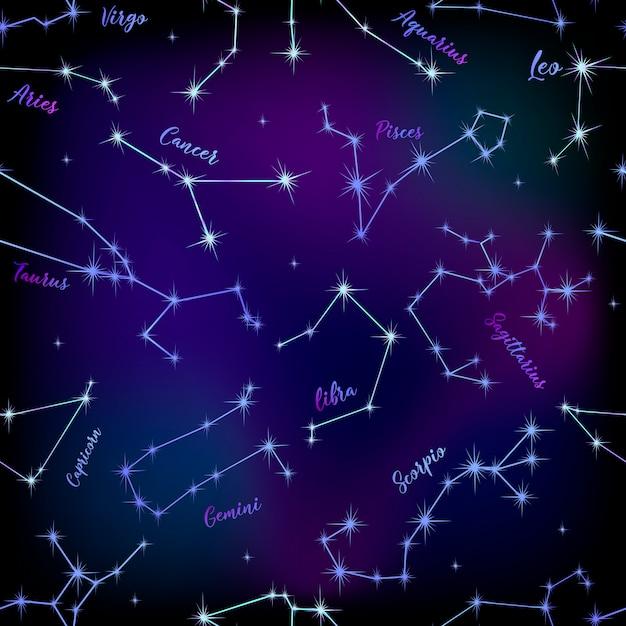 Naadloos patroon van sterrenbeelden Premium Vector