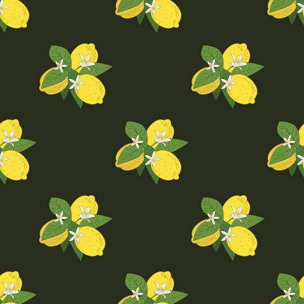 Naadloos patroon van takken met citroenen Premium Vector