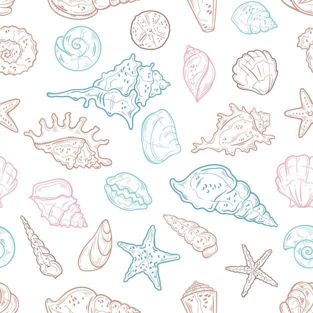 Naadloos patroon van verschillende soorten zeeschelpen. behang Premium Vector
