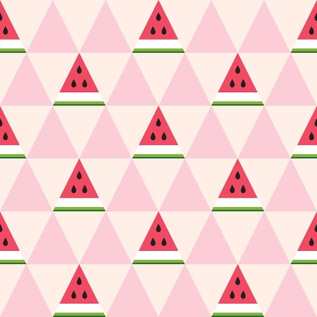 Naadloos patroon van watermeloenplakken in de geometrische stijl. Premium Vector