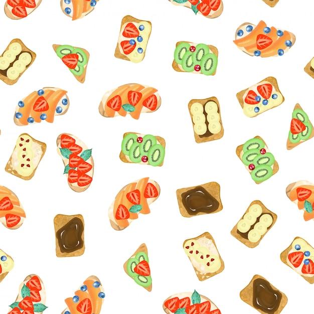 Naadloos patroon van zoete sandwiches, getrokken hand geïsoleerd op een witte achtergrond Premium Vector