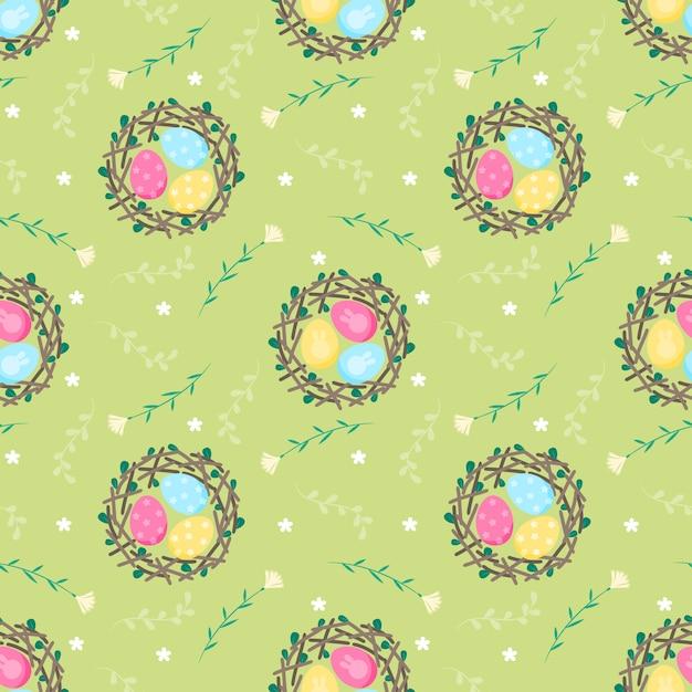 Naadloos patroonei in nest en bloem Premium Vector