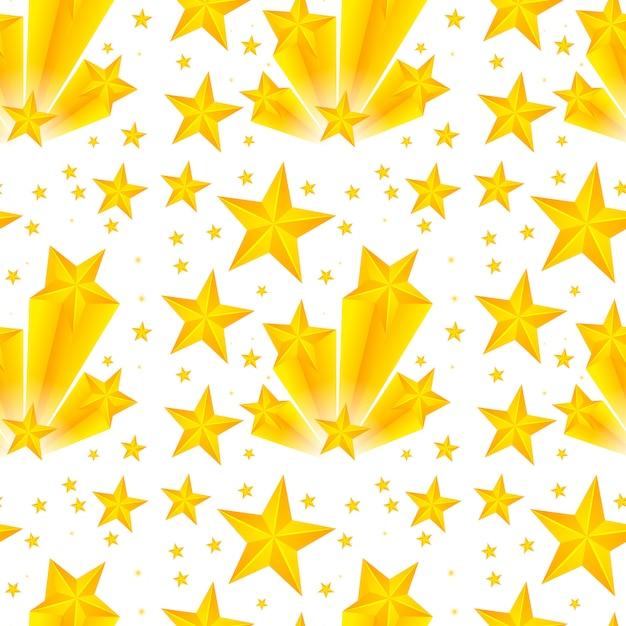 Naadloos patroonontwerp met gele sterren Gratis Vector