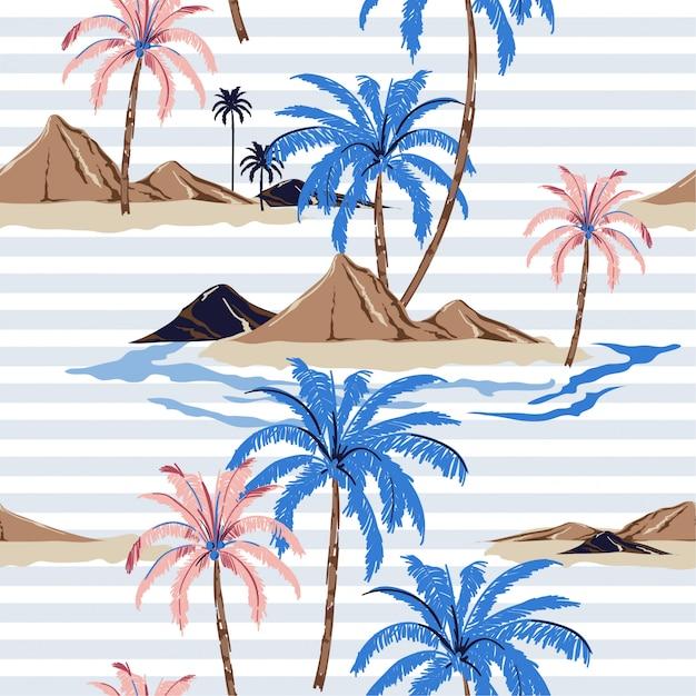 Naadloos tropisch eilandpatroon met pastelkleurstrepen. Premium Vector
