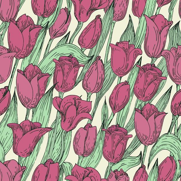 Naadloos vector bloemenpatroon met tulpen. hand getrokken illustratie. retro. Premium Vector