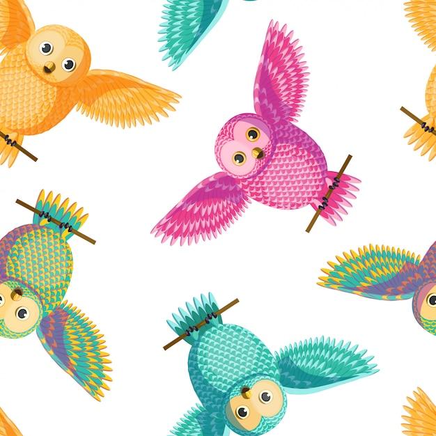 Naadloos vector multicolored geel, roze, groen, turkoois patroon van uil het uitspreiden vleugels. Premium Vector