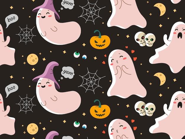 Naadloos vectorpatroon met leuk spook voor halloween Premium Vector