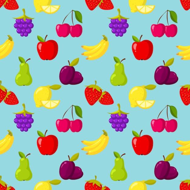 Naadloos vectorpatroon met vruchten en bessen Premium Vector