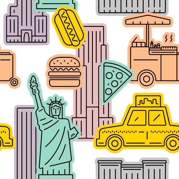 Naadloos vectorpatroon van het symbool van de stad van new york Premium Vector