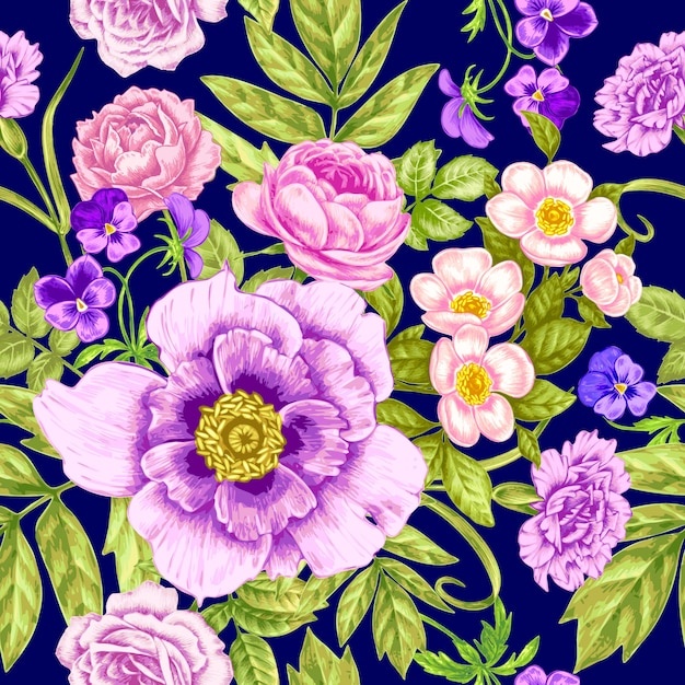 Naadloos vintage bloemenpatroon Premium Vector