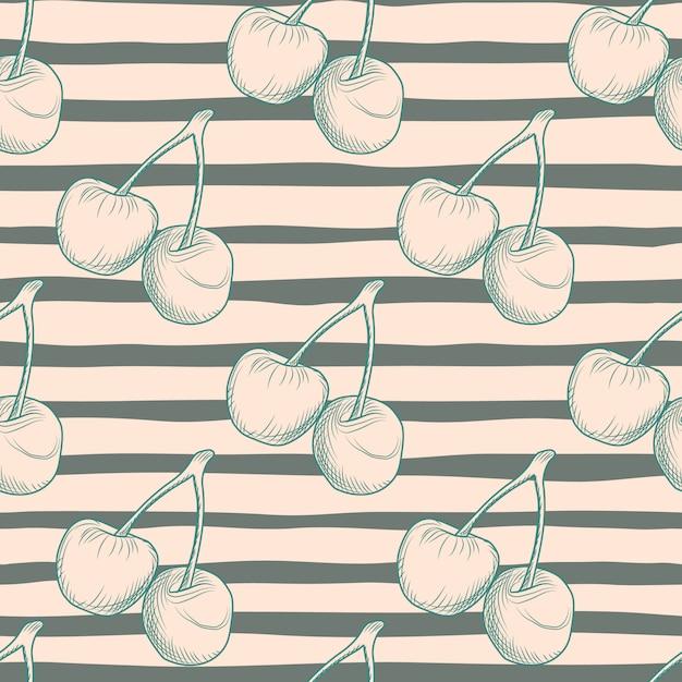 Naadloos voedselpatroon met het silhouet van kersenbessen. achtergrond met zwarte stroken. goed voor textiel, inpakpapier, behang, stoffenprint. illustratie. Premium Vector