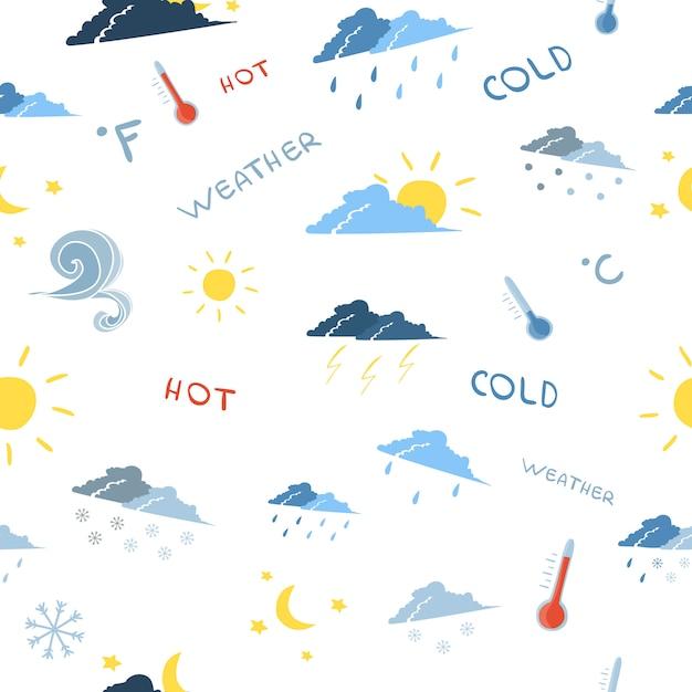 Naadloos weersvoorspellingspatroon Gratis Vector