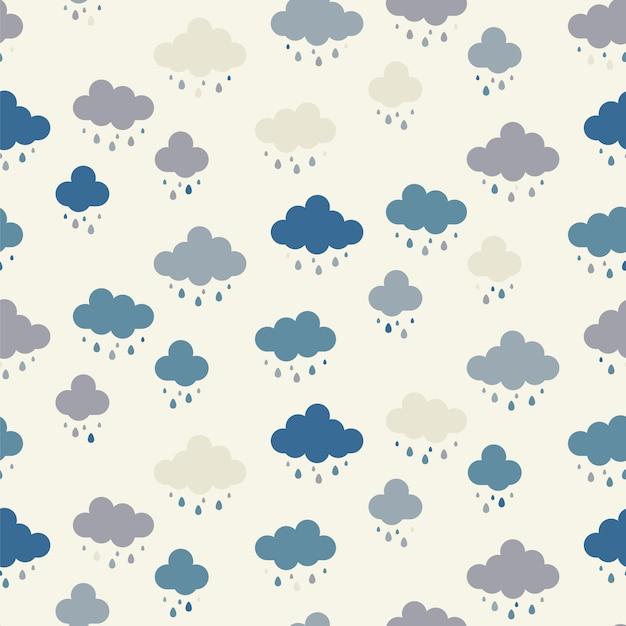 Naadloos wolkenpatroon als achtergrond Premium Vector