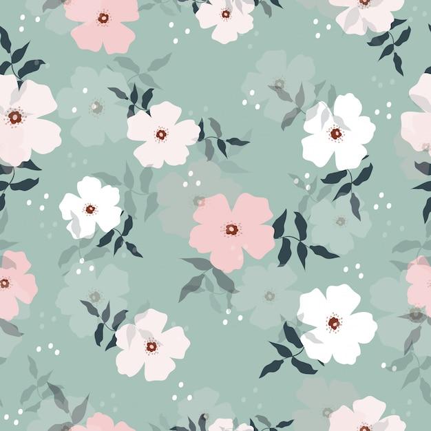 Naadloos zoet pastelkleur bloemenpatroon Premium Vector