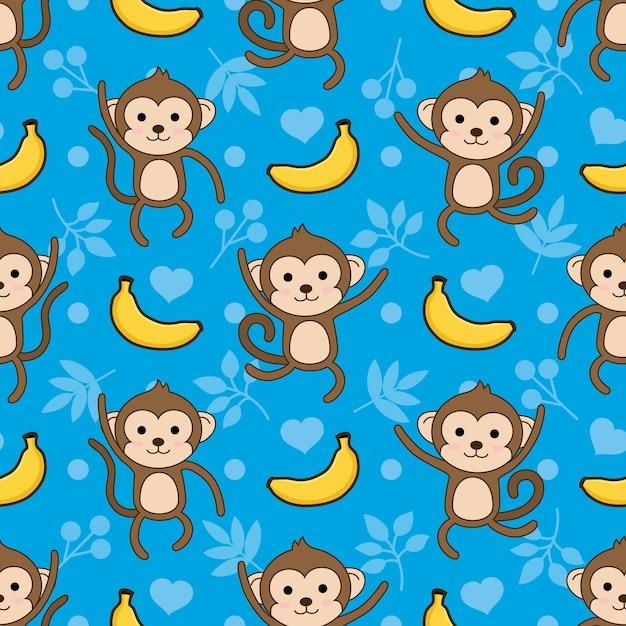 Naadloze aap en banaan vector patroon achtergrond Premium Vector
