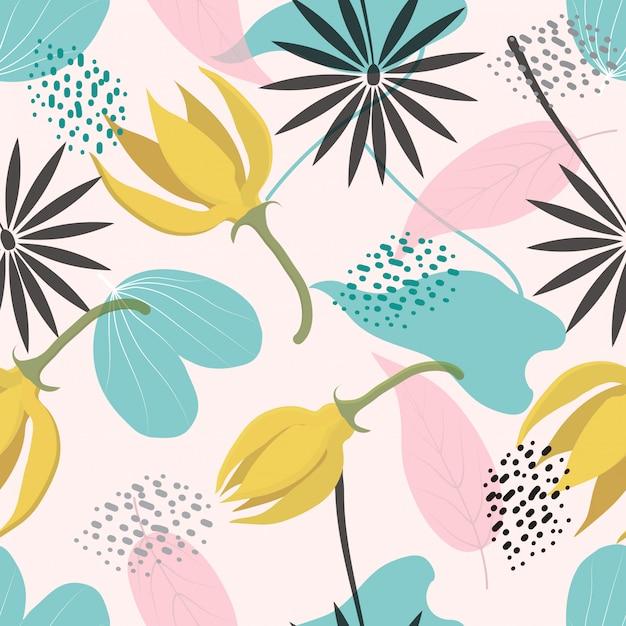 Naadloze abstract floral oppervlaktepatroon achtergrond Premium Vector