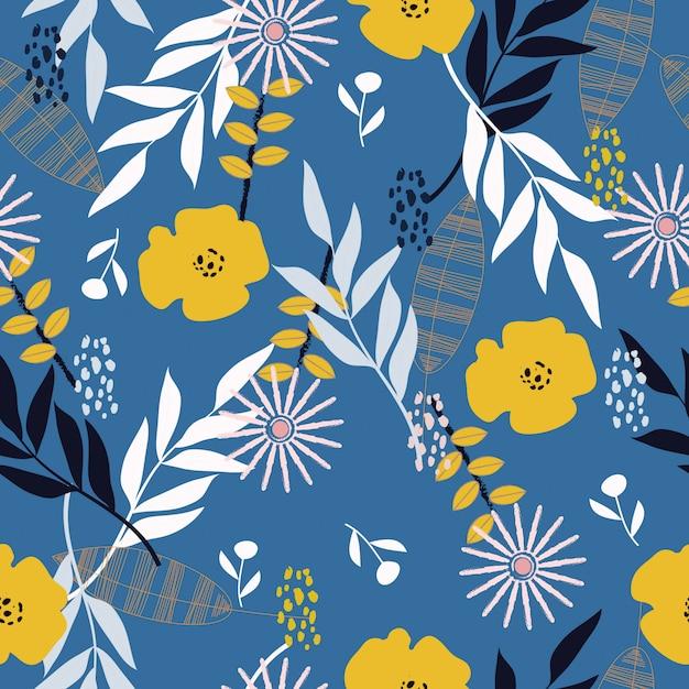 Naadloze abstracte tropische lente bloemenpatroon achtergrond Premium Vector