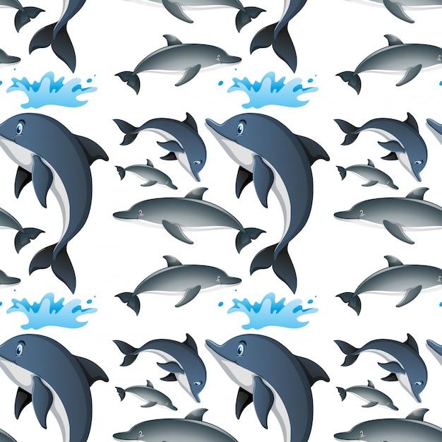 Naadloze achtergrond met gelukkige dolfijnen Premium Vector