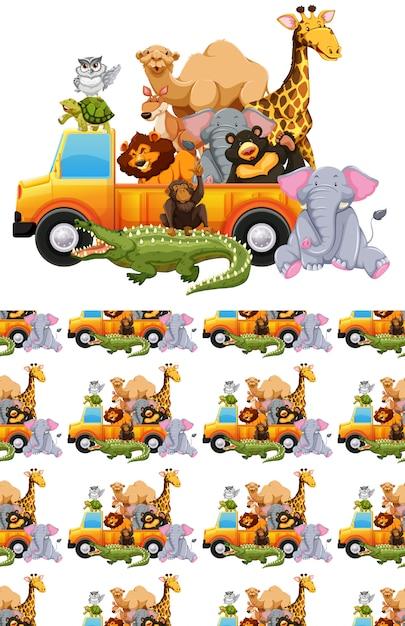 Naadloze achtergrond met veel dieren in een vrachtwagen Gratis Vector