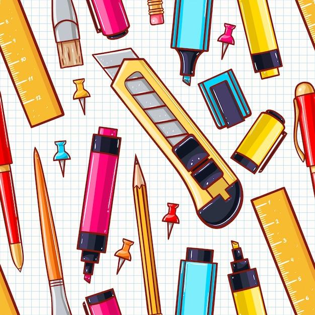 Naadloze achtergrond met verschillende briefpapier. briefpapier mes, schaar, marker Premium Vector