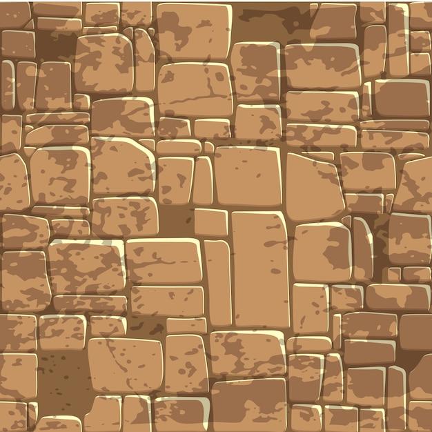 Naadloze achtergrond textuur bruine stenen muur. Premium Vector