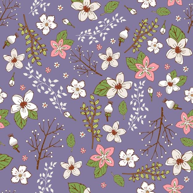 Naadloze achtergrondpatroon met mooie sprays en takken van handgeschilderde bloemen Gratis Vector