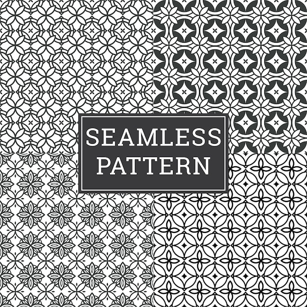 Naadloze art deco pattern texture decorative background set. Premium Vector