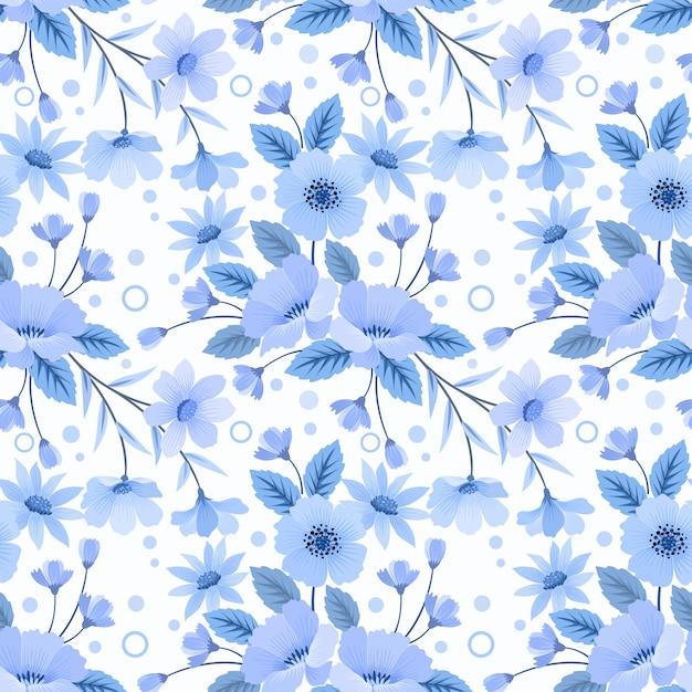 Naadloze bloemmotief blauw zwart-wit Premium Vector