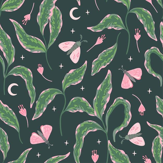 Naadloze bloemmotief met motten, sterren en maan op een donkere achtergrond. groene takken met bladeren, bloemen, vlinders. Premium Vector
