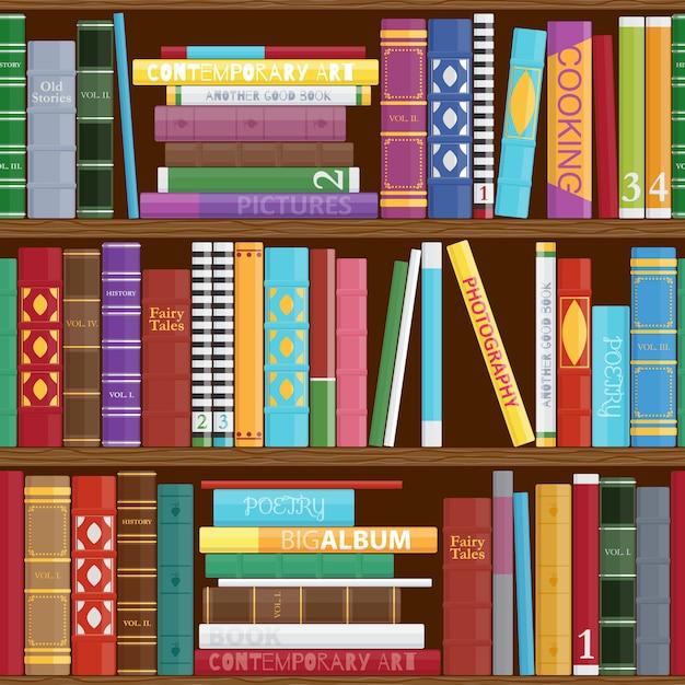 Naadloze boekenplanken achtergrond. Premium Vector