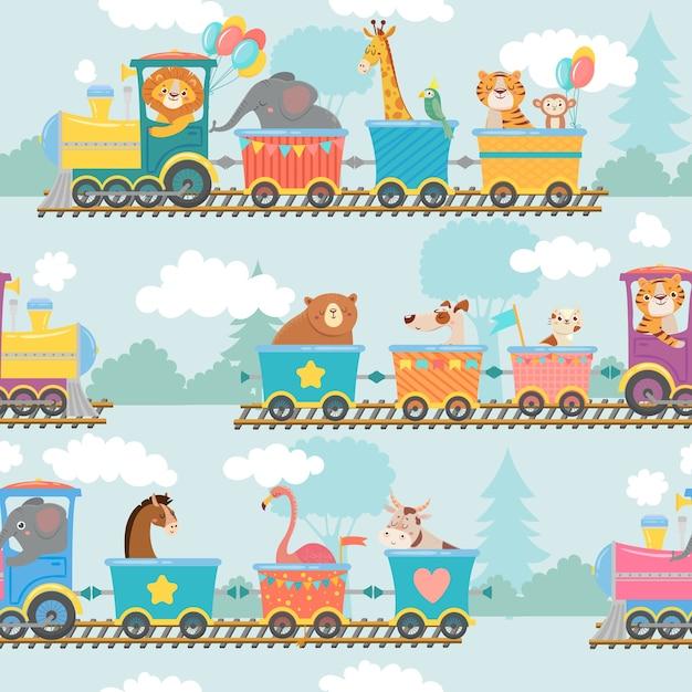 Naadloze dieren op treinpatroon. Premium Vector