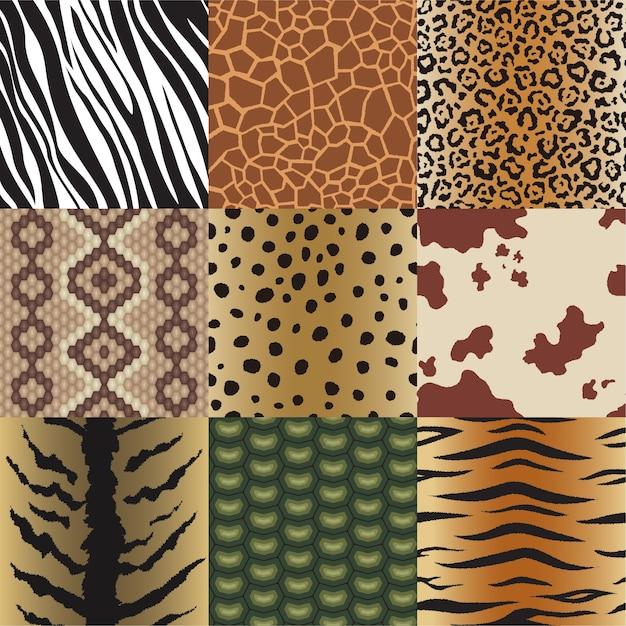 Naadloze dierenhuidpatronen instellen. safari-textiel van giraf, tijger, zebra, luipaard, reptiel, koe, slang en jaguar achtergrondcollectieillustratie Premium Vector